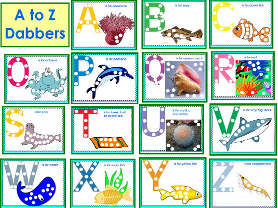 Dabbers ocean-theme-free-dabbers-a-to-z-printable