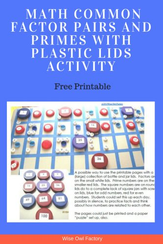 Free Math Facts with Plastic Lids Activity----prime numbers, square numbers, composite numbers, and factor pairs and free printable instant download