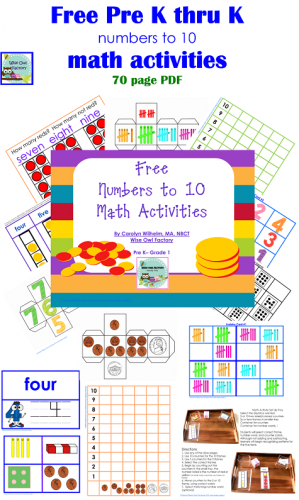 1-10 and 11-20 Math Activity Free PDFs K-1