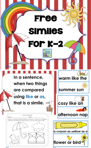 Similes For K-2 Illustrated Printable Freebie