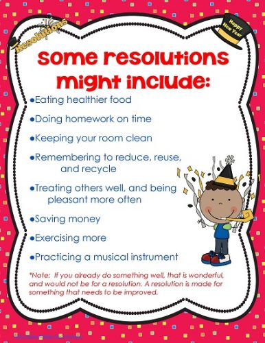 New Year Resolution Writing for Primary Students