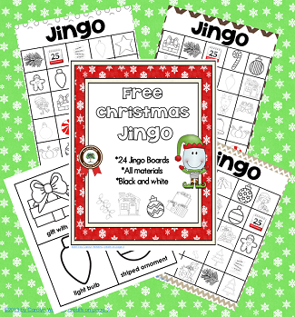 free black and white printing Christmas bingo game