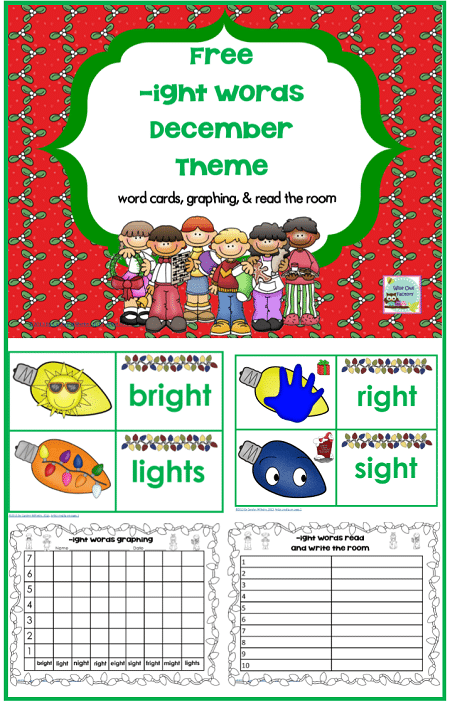 Words with -ight December Theme Printable Freebie