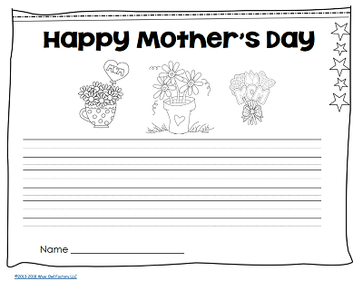 Happy-Mothers-Day-page-Grade-1-Write-Through-Year-freebie
