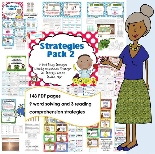 148 page PDF with reading word solving and reading comprehension strategies posters, work pages, and lesson ideas