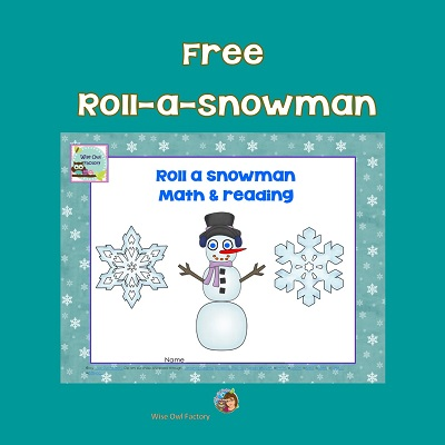 roll-a-snowman-math-and-reading-activities free printable