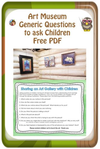 Art Museum Generic Questions to Ask Children Free PDF-- Generic questions parents could ask at any art gallery.