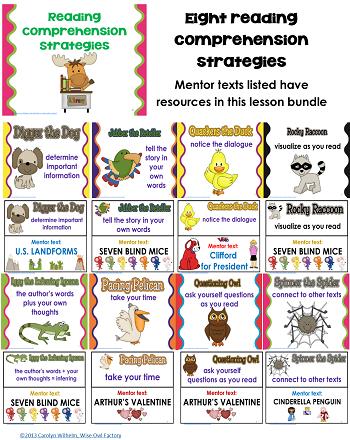 reading comprehension strategies included in strategies pack 1