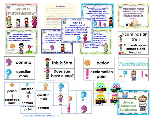 punctuation posters for Pre-k-grade 1