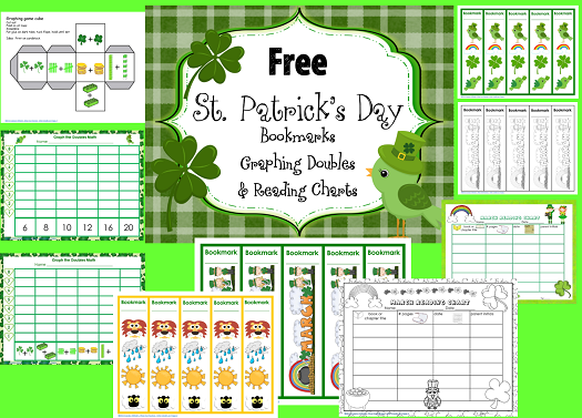free St. Patrick's Day doubles graphing, bookmarks, and reading charts in color and in black and white