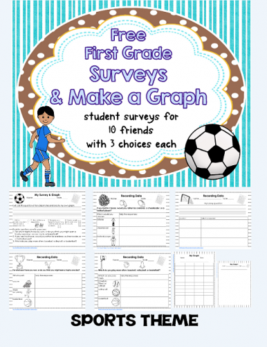 Free First Grade Surveys and Make My Own Graph, Sports Theme