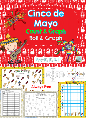Always free Cinco de Mayo count and graph and roll and graph activities