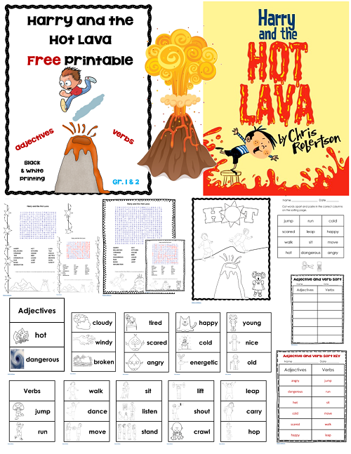 Harry and the Hot Lava printable student pages to accompany the book.