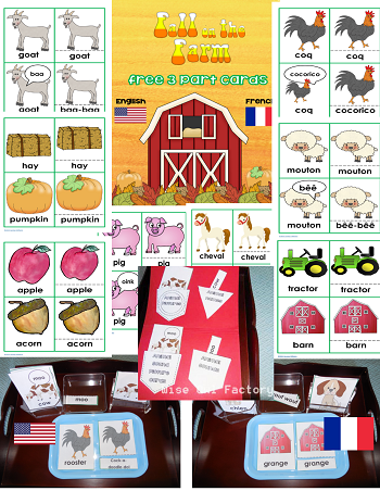 free fall on the farm 3 part cards and sorting printable