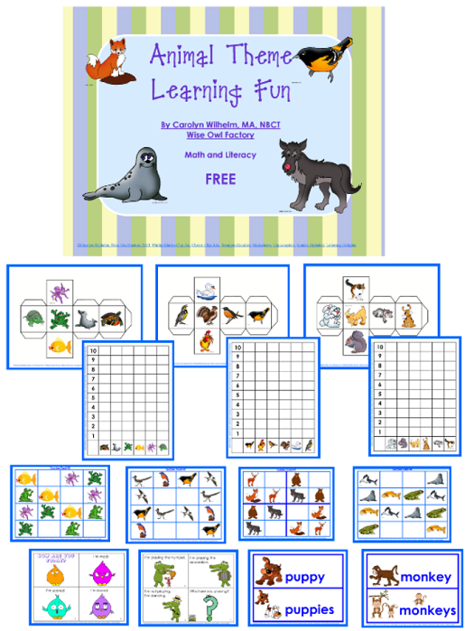 animal theme learning with graphing and Sudoku