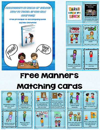 free full color version free manners matching printable, Montessori