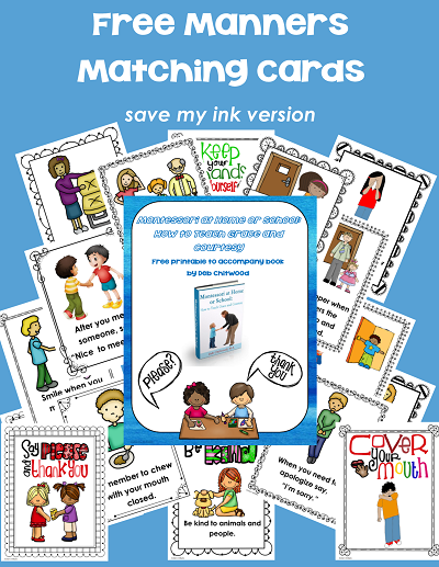 free manners matching cards for Montessori courtesy and grace