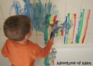 Shaving foam rainbow bath painting