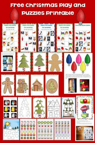 Christmas Read and Play Free Printable including play-dough mats, photos of materials in use, Sudoku puzzles, and activities.