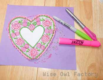 example of colored doily for Valentine's Day