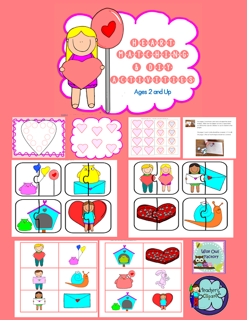 hearts matching Valentine's activity pages for ages 2 and up, preschool, free