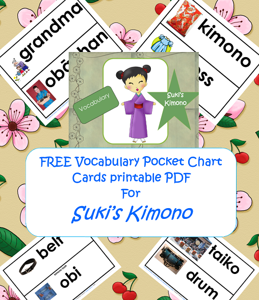 Free vocabulary printable for Suki's Kimono by Chieri Uegaki
