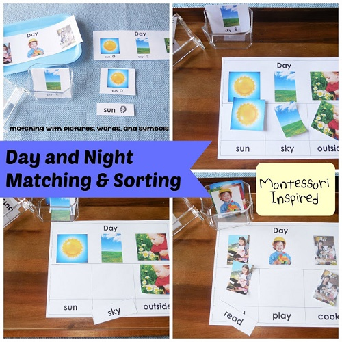 Day-and-Night-Matching-and-Sorting Montessori Inspired free printable