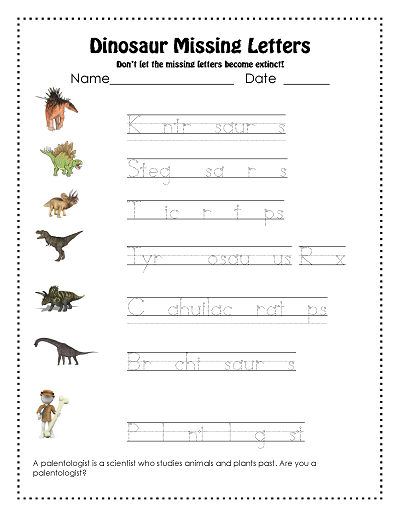 Free Dinosaur missing letters work page and answer key