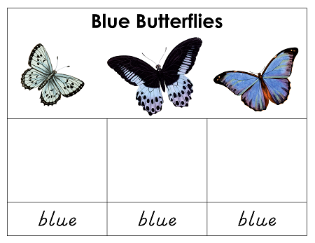 blue butterfly simple matching card pages