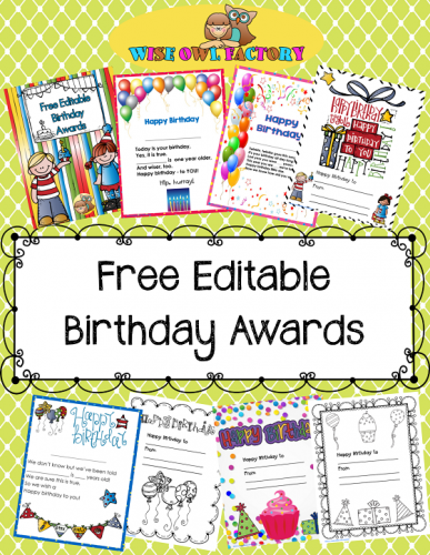 free editable birthday awards on Teachers Pay Teachers