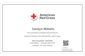 Carolyn's Red Cross Certificate Online