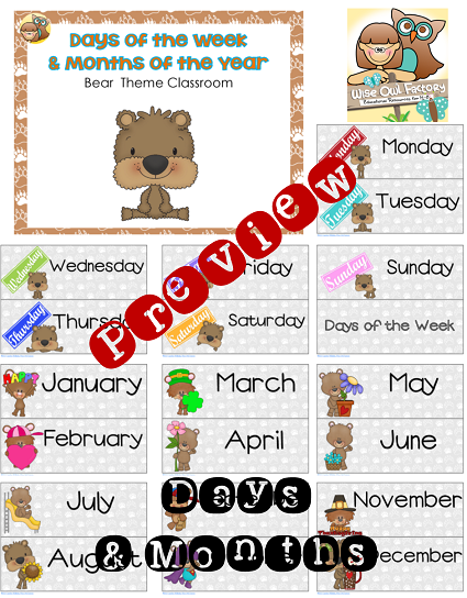 bear cubs days of weeks and months of the year printable
