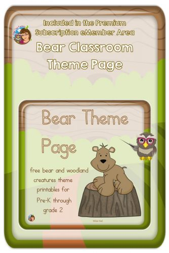 Bear Theme 3-Part Cards Free Printable--free printable bear actions chatterbox for younger learners, free 3-part fact cards, painting