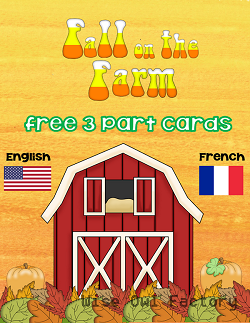 French and English 3-part cards with a farm theme free