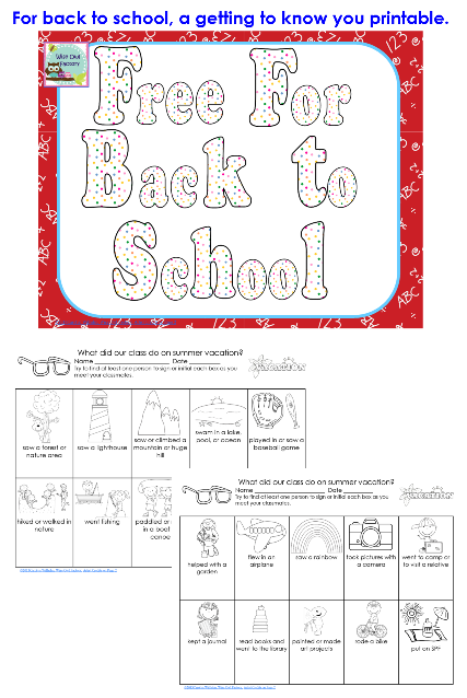 free 2 page getting to know you activity for classes in the fall