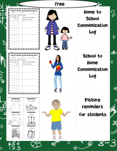 free home and school communication log printable for teachers and for parents