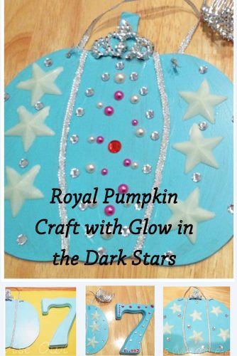 Royal Pumpkin Craft with Glow in the Dark Stars -- step by step information and photos to make a lovely pumpkin craft