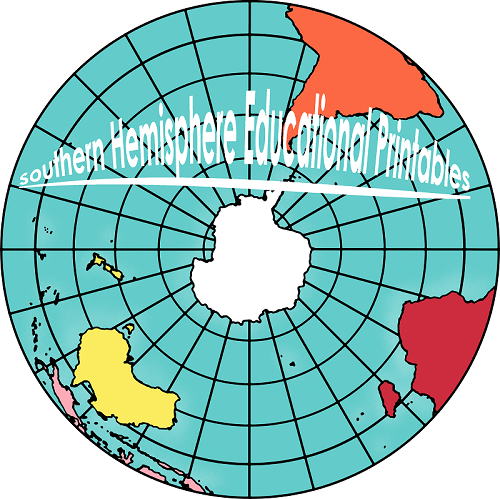 Southern Hemisphere educational printables