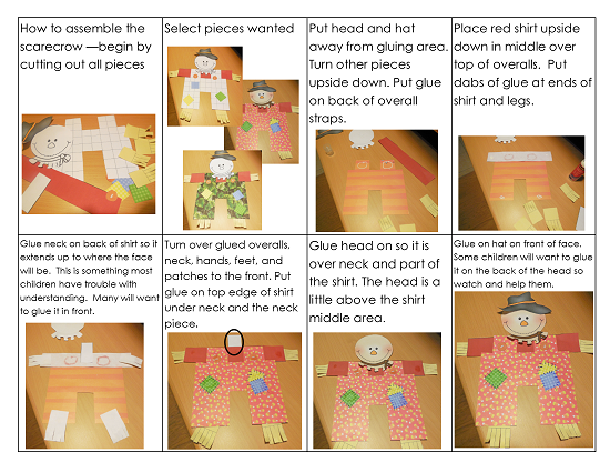 both text and illustrated directions are included in the free scarecrow printable