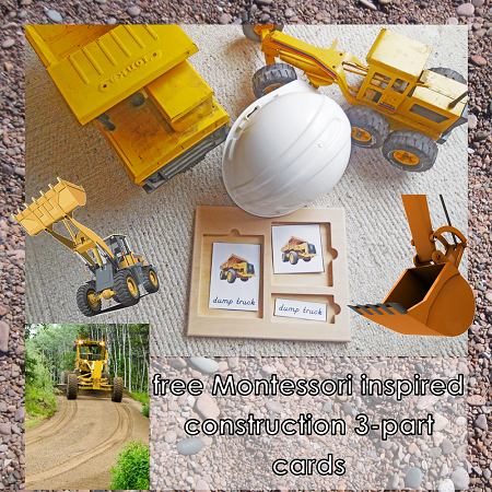 Construction Vehicles 3-part Cards Freebie for new subscribers