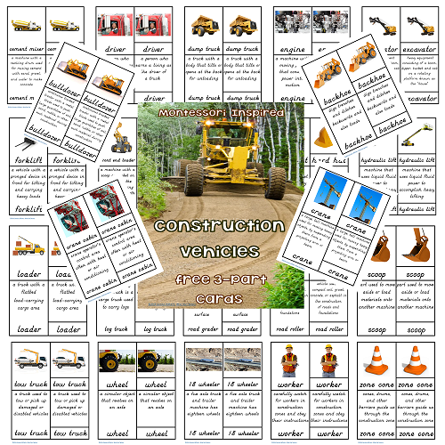 Construction Vehicle 3-part Cards