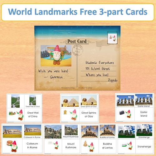 World Landmarks Free Printable Cards
