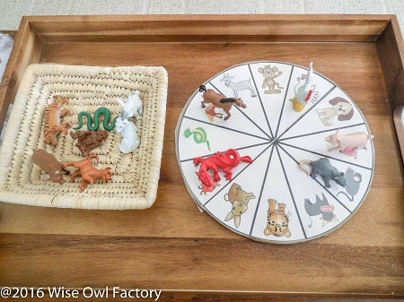 Chinese-Zodiac-printable-activities set up with a basket and a tray