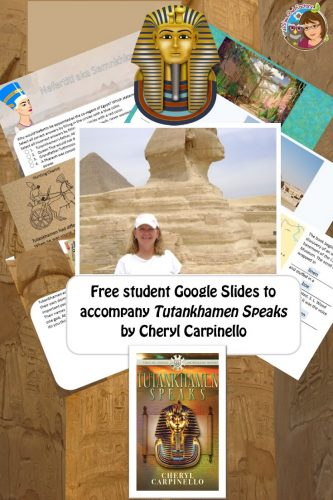 Tutankhamen Speaks free Google Slides deck for students. There is a free teacher guide PDF, and free student PDF version of the Google Slides for printing.