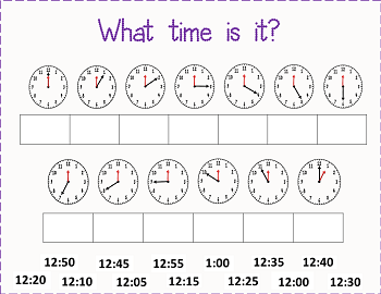 Time to 5 Minutes move-the-times-to-the-correct-clock