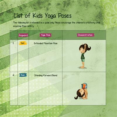 Sample page from Rachel's Day in the Garden Yoga Book for children