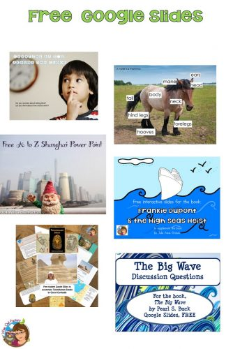 Google Slides for the Classroom, free, telling time to the 5 minutes, novels, horse labels, Shanghai A to Z