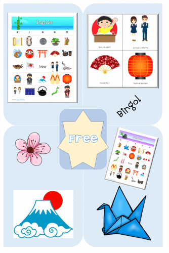 Japan Bingo Game for Grades K-4 printable PDF free, 20 different bingo boards, the calling cards, and covers are included.