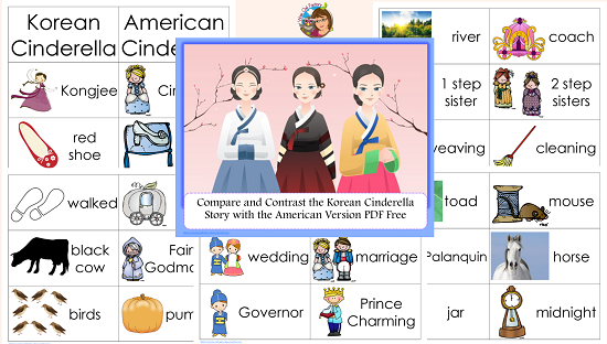 Korean Cinderella Compare/Contrast Free Printable • Wise Owl