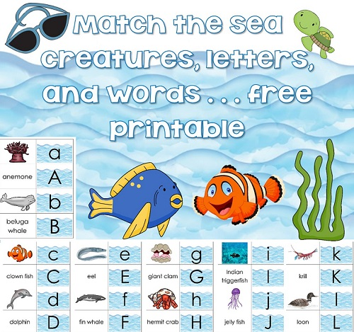 ocean-creatures-matching-cards-instant-download-freebie